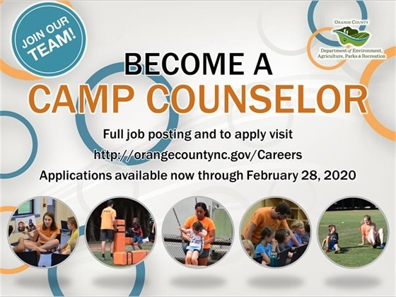 Apply to be an Orange County Recreation Camp Counselor by Friday, February 28
