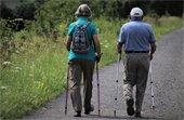 Photo of elderly man and woman walking on a path using hiking sticks.