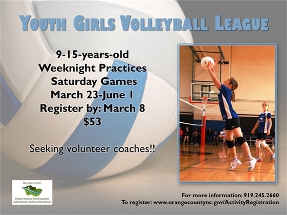 Girls Volleyball League register by March 8