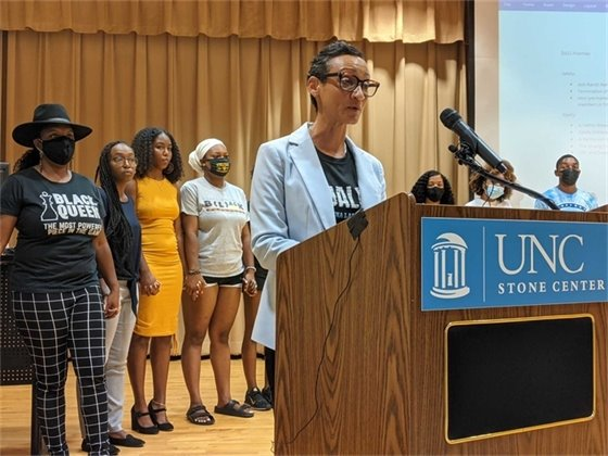 UNC Chapel Hill staff member and representative of the Carolina Black Caucus Jaci Field gives opening remarks at a press conference led by Black student groups July 7, 2021