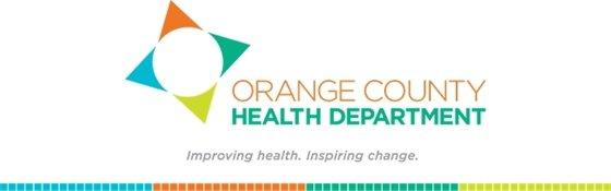 Orange County Health Department logo and tagline, Improving health. Inspiring change.