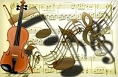 Graphic of violin, sheet music and floating musical notes.