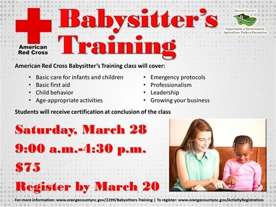 ARC Babysitter's Training register by March 20