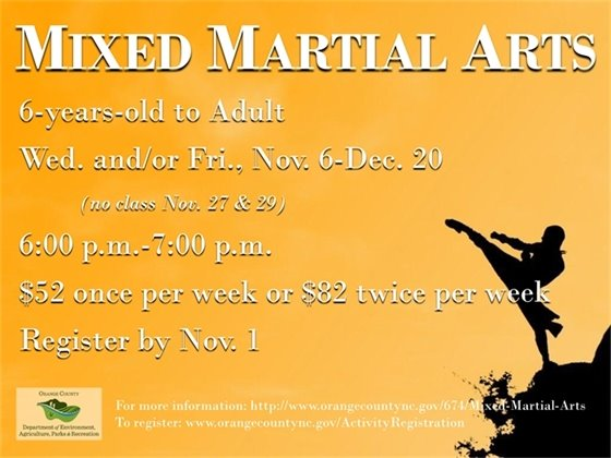 Mixed Martial Arts: Register by November 1