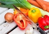 Vegetables, with knife