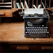 Photograph of a typewriter on a desk