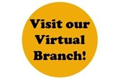 "yellow circle with ""Visit our Virtual Branch!"" in black type"