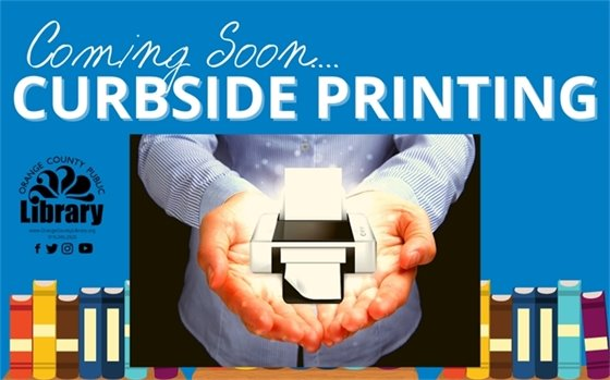 up next... curbside printing. illustration of man holding printer with paper coming out of it.