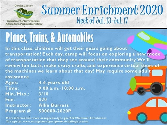 Planes, Trains, & Automobiles - Week of July 13-July 17