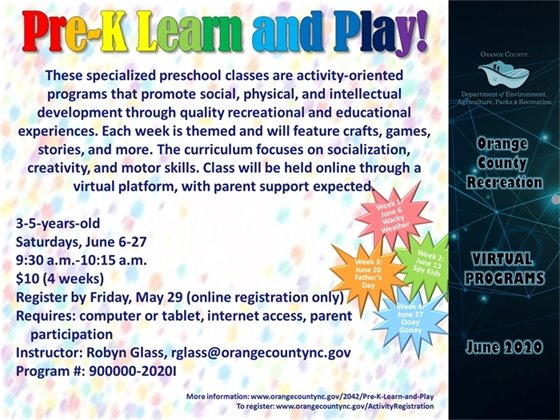 Pre-K Learn and Play June 2020