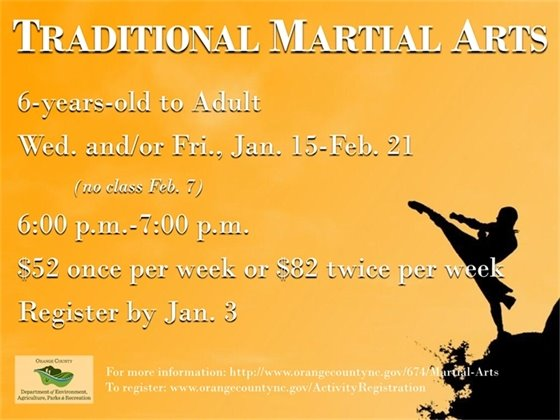 Martial Arts, ages 6 to Adult, Wednesdays & Fridays, January 15-February 21