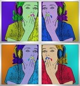 pop art teen girl with headphones