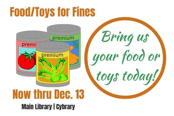 Slide for library Food/Toys for Fines event