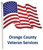 "Graphic: US Flag with words beneath, ""Orange County Veteran Services."""