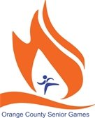Orange County Senior Games logo (figure running through orange flames)