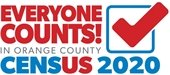 Everyone Counts! In Orange County Census 2020 (red, white & blue logo w/check mark in box)
