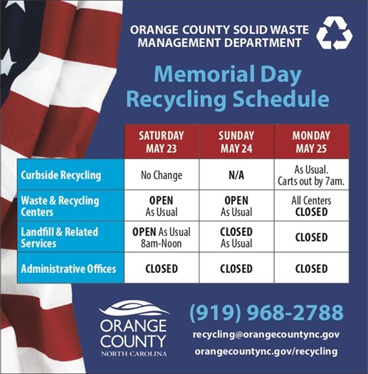 Memorial Day Recycling Schedule.  No change to curbside recycling, all other services and locations closed on Monday, May 25th.