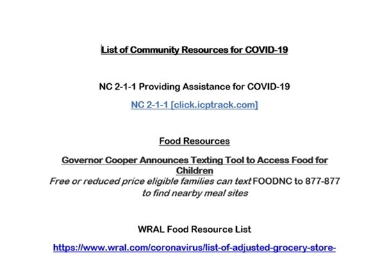 Community resources list