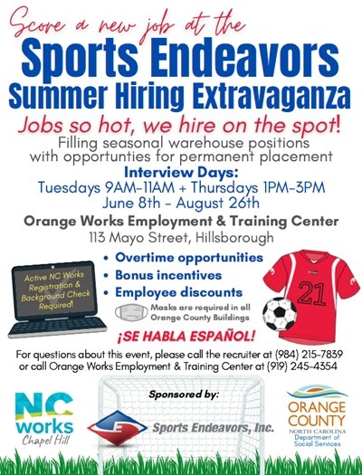 Sports Endeavors hiring graphic