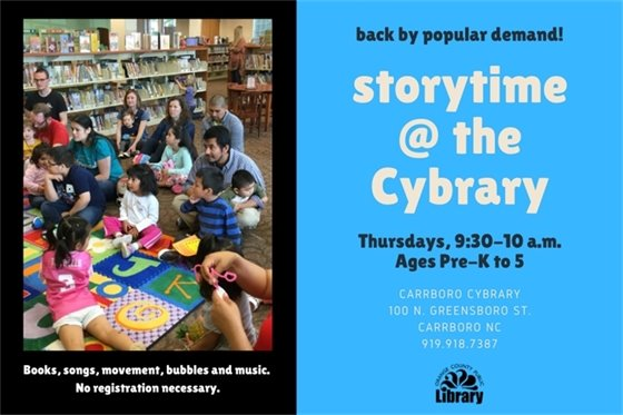 Storytime at the Cybrary, Thursdays 9:30-10 am