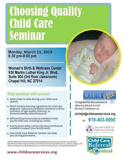 Choosing Quality Child Care Seminar