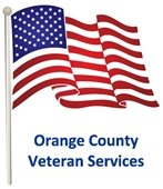 """America flag with text, """"Orange County Veteran Services"""""""