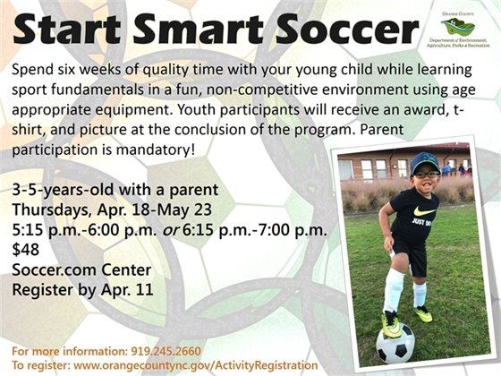 Start Smart Soccer, Thursdays April 18-May 23