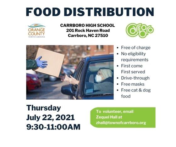 Food Distribution 7/22/21 (9:30-11:00 am) at Carrboro High School, Carrboro, NC