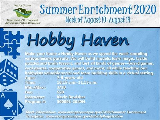 Hobby Haven - Week of August 10-August 14