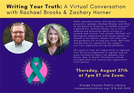 Writing Your Truth promotional slide. Two experts in trauma recovery pictured.