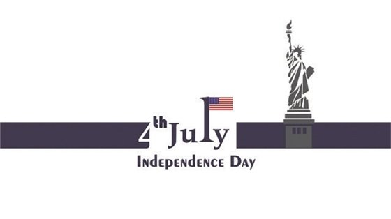 """""""4th July Independence Day,"""" on blue banner with American flag and the Statue of Liberty."""