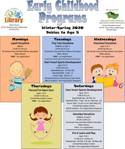 Early childhood flyer including library storytimes and Orange County Recreation programs