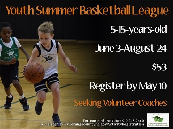 Youth Summer Basketball League, Ages 5-15, Register by May 10