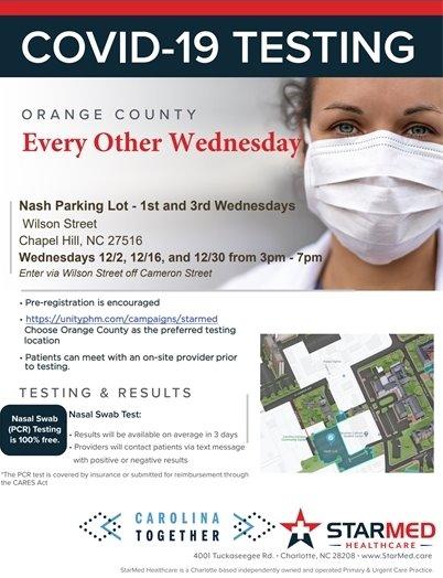 No-Cost COVID-19 Testing, Wednesday, December 9th, 11:00am - 3:00pm, Mt Moriah Baptist Church, 200 Buckhorn Rd, Mebane, NC 27302