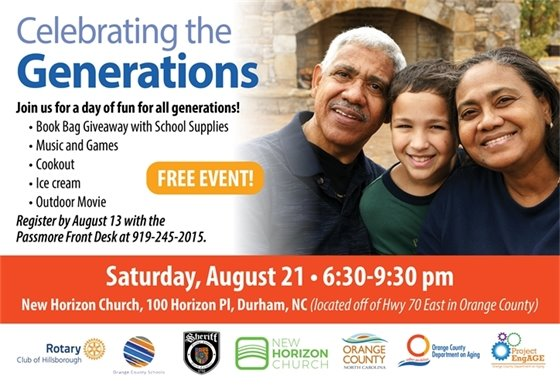 Celebrating the Generations Event, 8/21/21, call 919-245-2015 by 8/13.