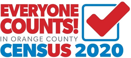 red, white and blue census ad: Everyone counts!