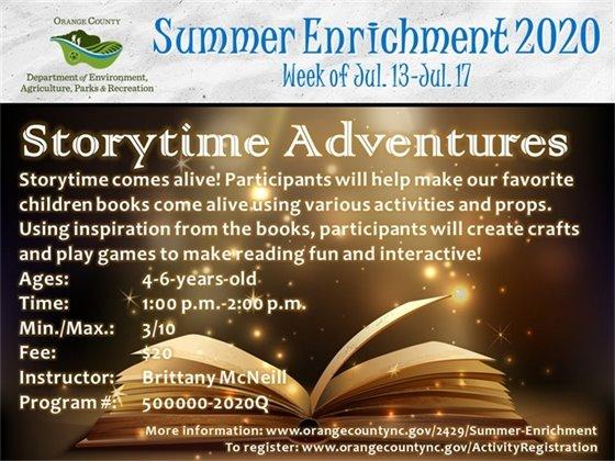 Storytime Adventures - Week of July 13-July 17