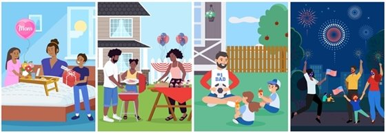 4 images of celebrations: Mother's Day, Memorial Day, Father's Day, and Independence Day