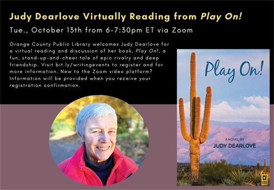 image of author Judy Dearlove and the cover of her book, Play On!