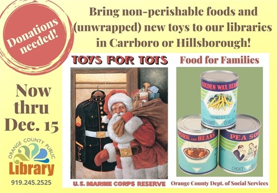 bring new unwrapped toys and non-perishable food to one of our locations now through Dec. 15.