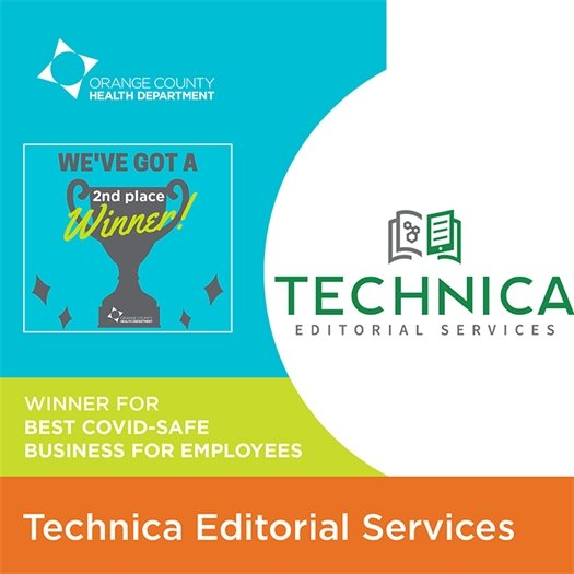 Second place winner for best COVID-safe business for employees: Technica Editorial Services