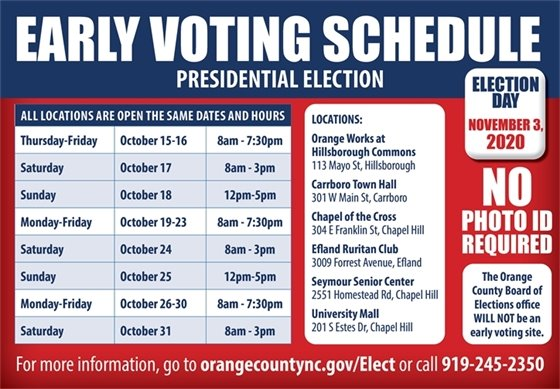 early voting graphic with dates and locations