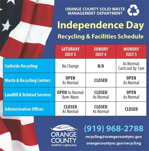 No change to curbside recycling.  Waste and Recycling Centers and Landfill closed on Sunday, July 4th.  Administrative Offices closed on Monday, July 5th.