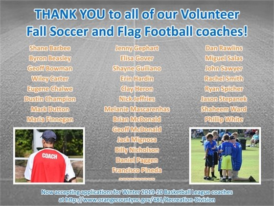 Thank you Fall 2019 Volunteer Coaches