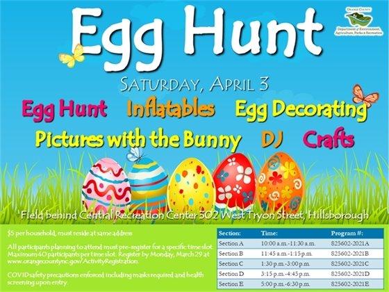 Egg Hunt - all ages, Saturday, April 3