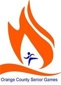 Orange County Senior Games logo (orange flame with blue silhouette of a person running).