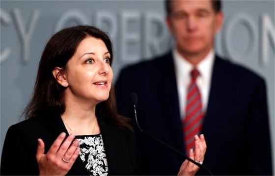 Picture of Mandy Cohen speaking at a press conference