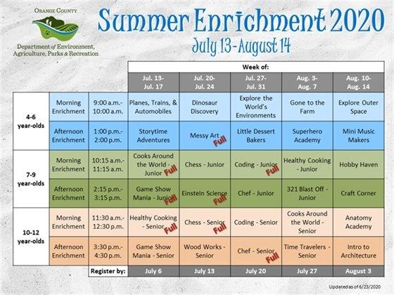 Virtual Summer Enrichment - July & August