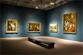 NC Museum of Art: Blue gallery room with four oil paintings framed in gold.