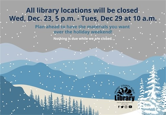 holiday hours at the library.